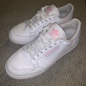 White and pink adidas continental 80 sneakers